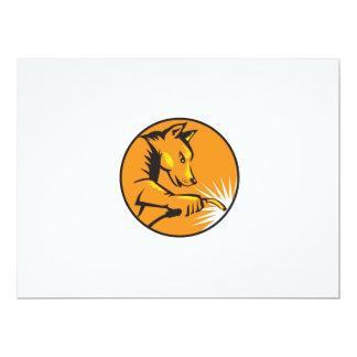"Dingo Dog Welding Circle Retro 6.5"" X 8.75"" Invitation Card"