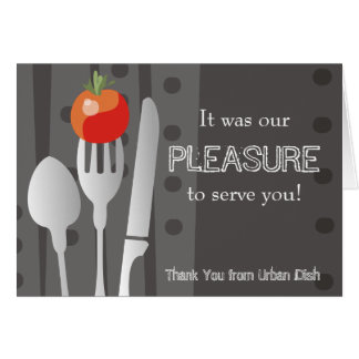 dining eating utensils catering thank you note ... card