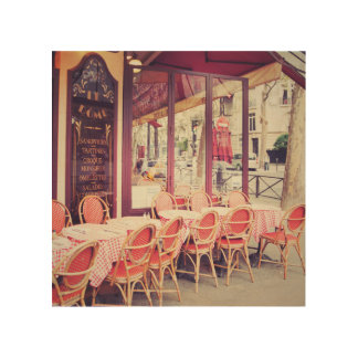 Dining In Paris Al Fresco Wood Print