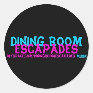 Dining Room, Escapades, myspace.com/diningroome... Classic Round Sticker