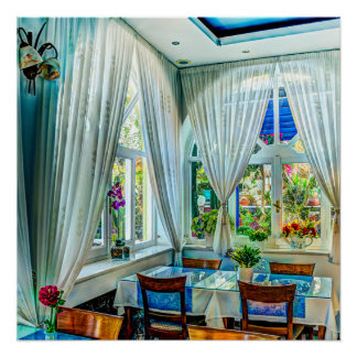 Dining Room with Colorful Outdoor Garden Poster Perfect Poster
