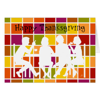 Dining Together, Colorful Grid, White Silhuoette Card