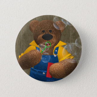 Dinky Bear: Blowing Bubbles 2 Inch Round Button