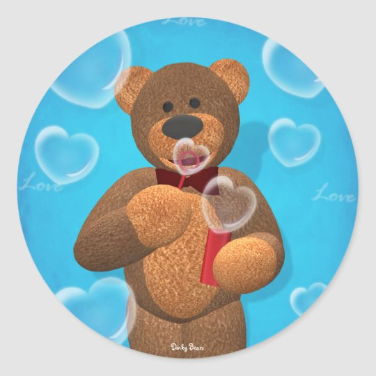 Dinky Bear blowing Heart Bubbles Classic Round Sticker