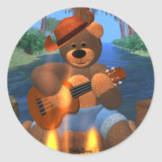 Dinky Bear on Raft Classic Round Sticker