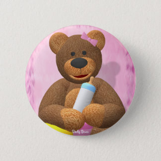 Dinky Bears Babygirl 2 Inch Round Button