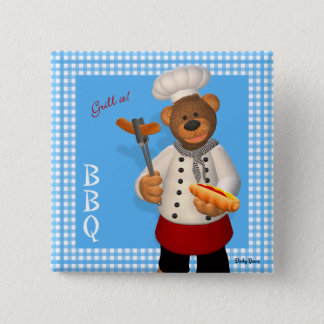 Dinky Bears BBQ Chef 2 Inch Square Button
