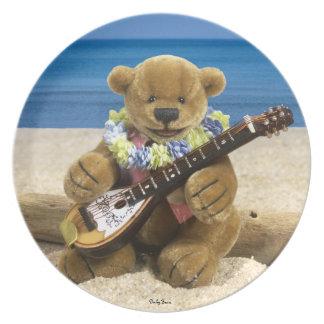 Dinky Bears Beach Guitarist Dinner Plate