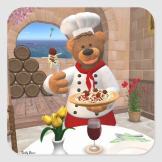 Dinky Bears Chef: Spaghetti with Meatballs Square Sticker
