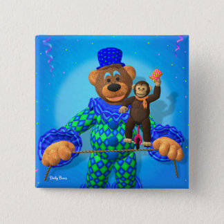 Dinky Bears Clown with his little friend 2 Inch Square Button