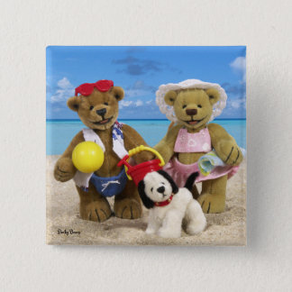 Dinky Bears Day at the Beach 2 Inch Square Button