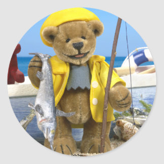 Dinky Bears: Fisherman Classic Round Sticker
