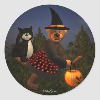 Dinky Bears Flying Witch Round Sticker
