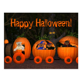 Dinky Bears Pumpkin-Train Postcard