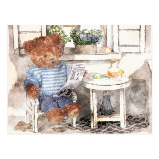 Dinky Bears Watercolor - Reading Bear Postcard