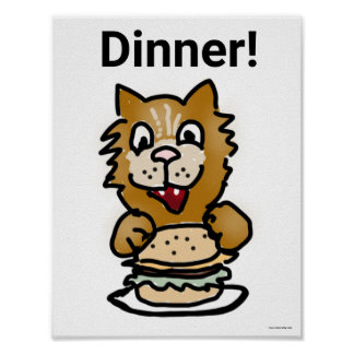 Dinner Cat cartoon poster