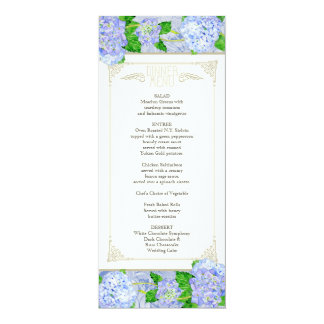 Dinner Menu - Blue Hydrangea Lace Floral Formal Card