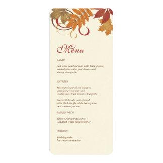 Dinner Menu Card | Autumn Falling Leaves Custom Invitation