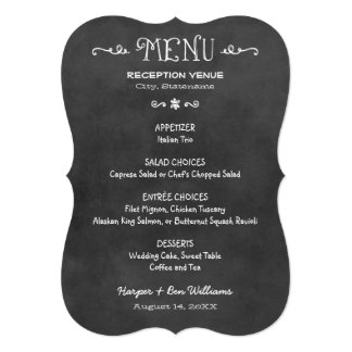Dinner Menu Card | Black and White Chalkboard Look