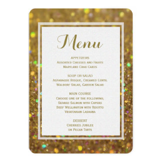 "Dinner Menu | Gold Glitter 5"" X 7"" Invitation Card"