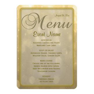Dinner Menu | Golden Bokeh Card
