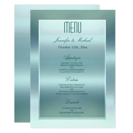Dinner Menu | Satin Teal Card