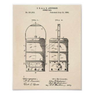 Dinner Pail 1893 Patent Art Old Peper Poster