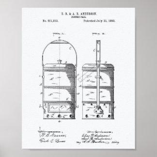 Dinner Pail 1893 Patent Art White Paper Poster