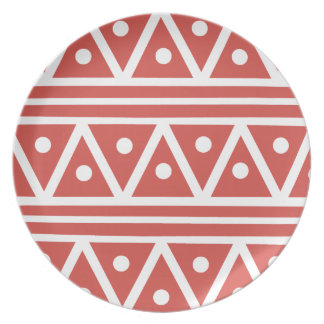 Dinner Plate in Cayenne Red Aztec Design