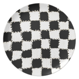 Dinner Plate with Crochet Checkered Style