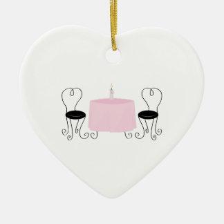Dinner Table Ceramic Heart Ornament