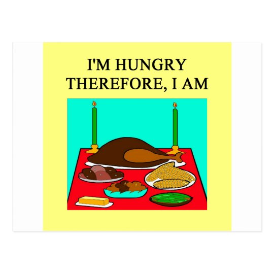 dinner time philosophy postcard