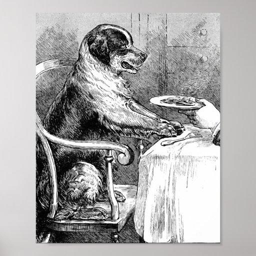 Dinner Time Vintage Dog Illustration Poster