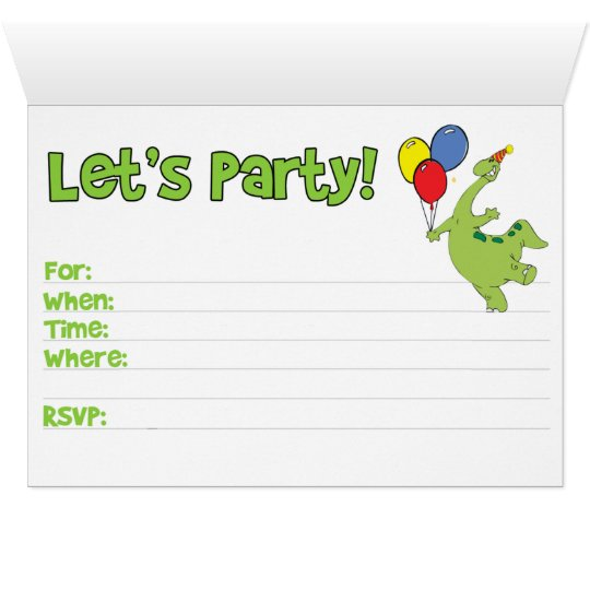 Dino 3rd Birthday Fill-in Invitation