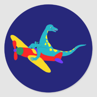 Dino Aviator Classic Round Sticker