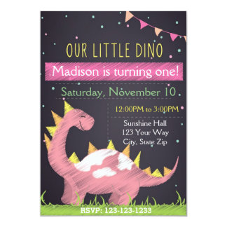 Dino Birthday Inviation (girl) Card