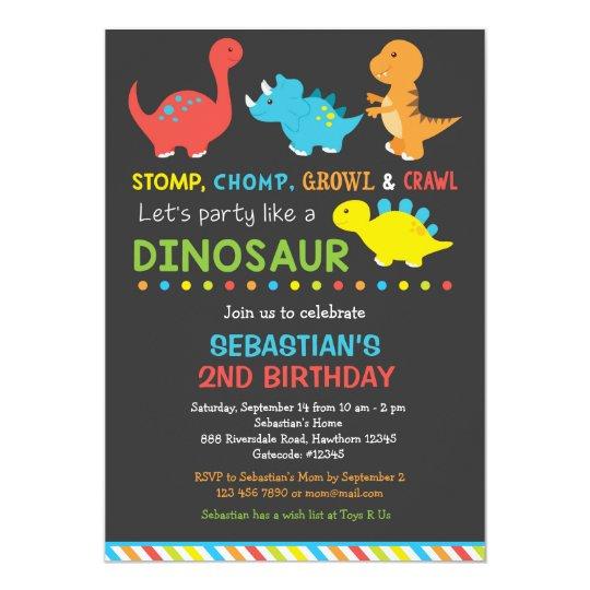 Dino Birthday Invitation Dinosaur