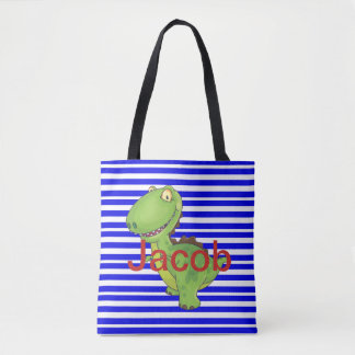 Dino Dinosaur Colorful Blue Striped Lizard T-rex Tote Bag
