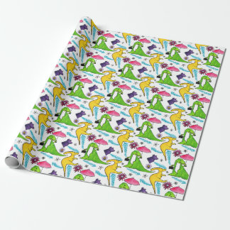 Dino-flowers Wrapping Paper
