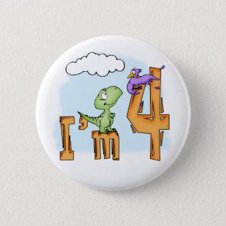 Dino Fun 4th Birthday 2 Inch Round Button