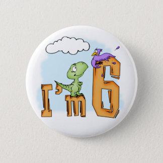 Dino Fun 6th Birthday 2 Inch Round Button