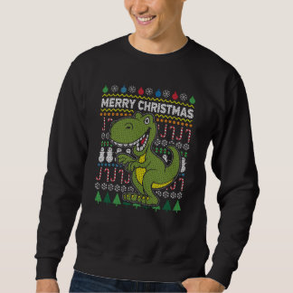 Dino Green Ugly Christmas Sweater Wildlife Series