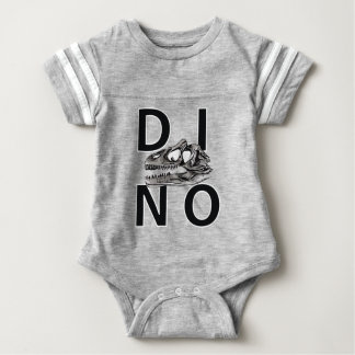 DINO - Heather Grey Baby Football Bodysuit