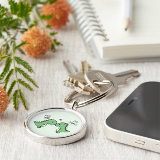 Dino Love Key Chains! Silver-Colored Round Keychain