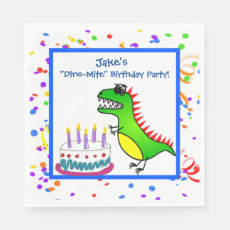 Dino-Mite Time Dinosaur and Cake Birthday Party Paper Napkin