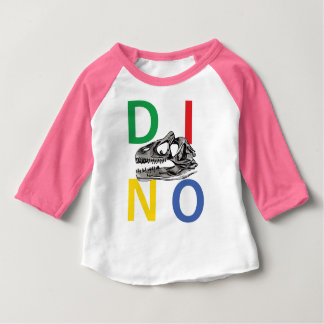 DINO - Neon Pink Baby American Apparel 3/4 Sleeve Baby T-Shirt