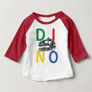 DINO - Red Baby American Apparel 3/4 Sleeve Raglan Baby T-Shirt