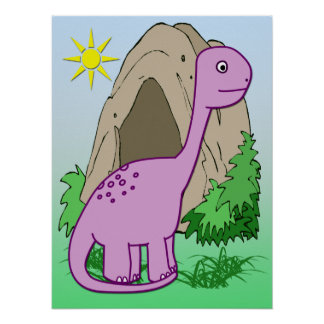 "Dino the Dinosaur Cute Kid's 24""x18""Poster Poster"