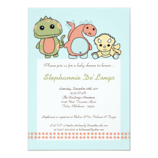 Dinos Play Dinosaurs T Rex Baby Shower Invitation