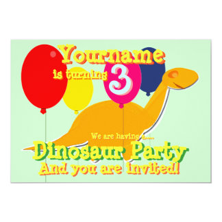 Dinosaur 3rd Birthday Party Invitations